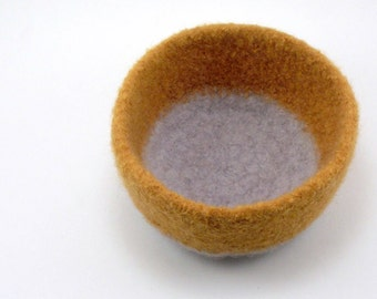Wool felted bowl - wool bowl - gold and smoke gray