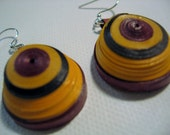 Quilled Dome Earrings in Fall Colors