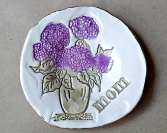 Ceramic Jewelry Holder Ring Dish hydrangea edged in gold MOM