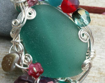 Mermaid's Garden ~ Teal Green Greek Sea Glass Pendant Wrapped with Silver Artistic Wire