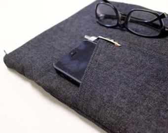 iPad Pro 12.9 or 10.5 inch Case, iPad Air 2 Sleeve, iPad mini Sleeve, iPad Cover - Black Denim