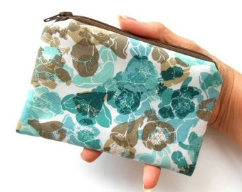 Coin Purse ECO Friendly Padded Little  Zipper Pouch NEW Teal Blooms