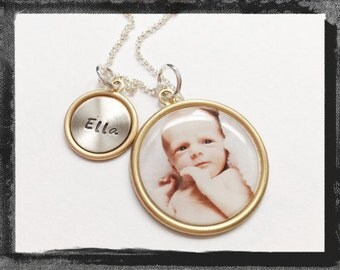 Personalized Jewelry - Photo Necklace - Baby - Hand Stamped Name Charm