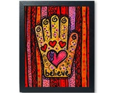 Believe Hamsa art print -...