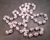 Jewelry Supplies, One Yard of Copper Beaded Chain, Faceted Clear Acrylics, Destash Supplies, FREE Shipping U.S.