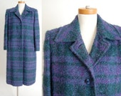 on reserve / ON SALE vintage Plaid Wool Coat / Mohair Wool Boucle / Long Dress Coat / Car Coat / Purple Blue Forest Green Made in USA