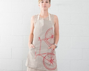 Fixie Striped Apron, Red Screen Print, Cotton Twill