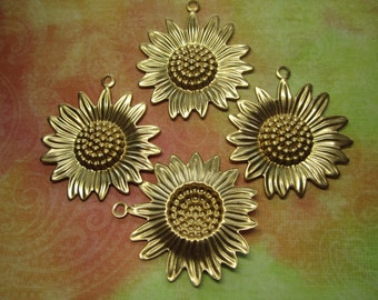 Sunflower Charms LG Fall Flowers Brass Supplies on Etsy x 4