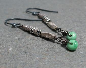 Variscite Earrings Sterling Silver Earrings Tribal Earrings Long Earrings Oxidized Turquoise Earrings