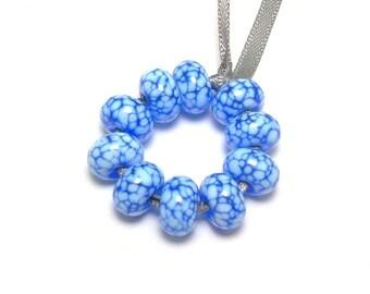 Handmade Lampwork Glass Mini Beads - Light Blue Mosaic