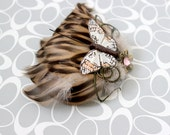 Neutral Tones Butterfly Feather Clip