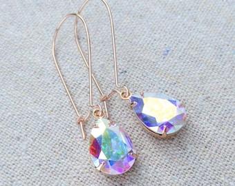 Swarovski Crystal Iridescent Tear Drop Crystal Rose Gold Bridal Long Dangling Pear Teardrop Earrings Wedding Jewelry Bridesmaids Gifts