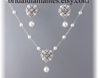 Novia Necklace and Earring Set, Choice of White or Cream Pearls Available, Rhinestone and Pearl Necklace,Swarovski