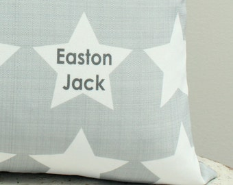 Pillow cover Personalized Grey coral modern hipster accessory home decor nursery newborn baby gift zipper canvas wedding gift shower present