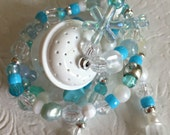 CYBER MONDAY SALE Bug Catcher or Treasure Keeper Necklace - crystal + blue + white - discount price