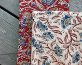 Cloth napkins, extra large napkins, lap mat, burp mat, Dishtowels, Set of 2, handmade, 16 x 26, kalamkari, kitchen towel, tea towel