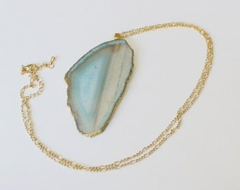 Beautiful Gilded Baby Blue Agate Slice Large Geode Necklace. Geode Jewelry, Statement Piece, 14k Gold Chain,Free Shipping