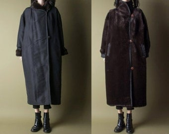 arctic blast REVERSIBLE faux fur maxi coat / long black coat / fur lined coat / m / 665o