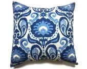 Decorative Pillow Cover Ikat Design Shades of Navy Blue Cadet Blue White Same Fabric Front/Back Toss Throw Accent 18x18 inch x