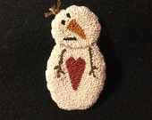 Primitive Needle Punch Pin Winter Snowman And Heart