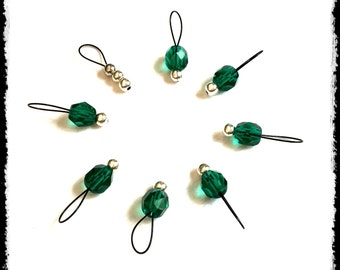 Snag Free Stitch Markers Small Set of 8 - Teal Faceted Glass -- K36 -- Up to size US 8 (5.0mm) Knitting Needles