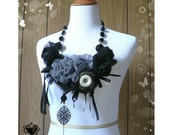 RESERVED Dramatic Black and Grey Roses and Ribbons Gothic Statement Necklace
