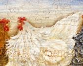 "9.5"" X 24""  Chicken folk Art Signs Original Art on Rustic wood"