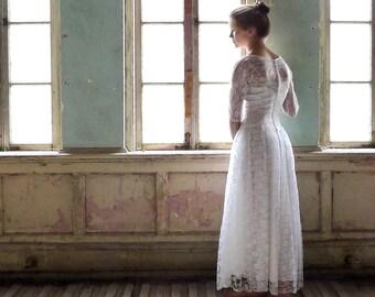 Lorrie Deb Tea Length White Chantilly Lace Wedding Dress XS