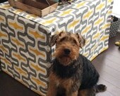 Designer Dog Crate Cover in ALL sizes - Choose from 100s of Premier Print Fabrics - Embrace Storm Grey/Yellow shown - Dog Bed Duvet Covers