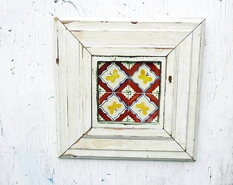 Butterfly Decor,Rustic Wall Decor, Reclaimed Wood Wall Art, Framed Talavera Tile,  Boho Wall Decor, Butterfly Nursery Art, Bohemian Art