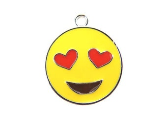 Rhodium Plated Smiley Face with Heart Eyes  - Emoji Charms (2x) (K305-B)