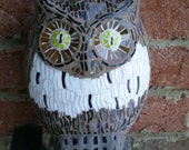 Stained Glass Mosaic Brown and White Owl 3-9 Sculpture