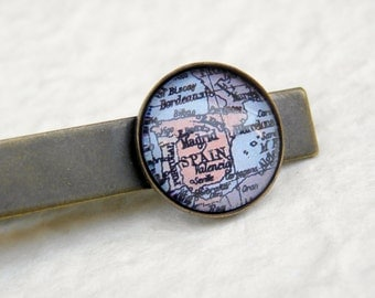Spain Map Tie Clip - Featuring Madrid, Seville, Valencia, Barcelona, and Portugal - Great for Groomsmen gift for wedding