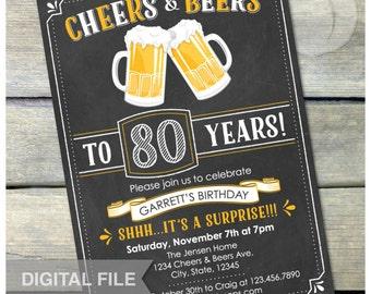 "Surprise 80th Birthday Invitation Cheers & Beers Invite Chalkboard Birthday Party Men Women - Digital Invite - 5"" x 7"""