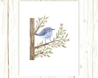 Blue-Gray Gnatcatcher Print -- bird art -- bird art 52 birds stephanie fizer coleman illustration blue bird