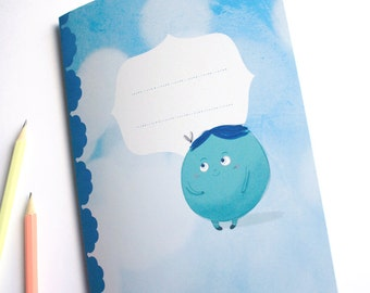 Cute guy in blue - A5 handmade notebook - made of recycled paper