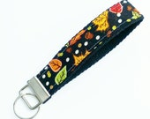 FREE SHIPPING UPGRADE with minimum -  Key Lanyard - Key Fob - Fabric Key Ring -- Fall Leaves on Black