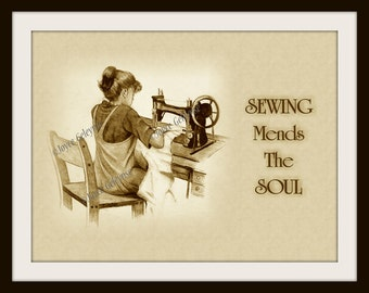 Vintage Printable Art, Girl at Singer Machine with Quote about Sewing, Sepia Pencil, Instant Download