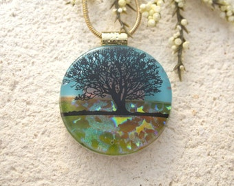 Tree Necklace, Tree Jewelry, Dichroic Jewelry, Tree of Life, Horizon Tree, Dichroic Pendant, Fused Glass Jewelry, Gold Necklace 081815p100