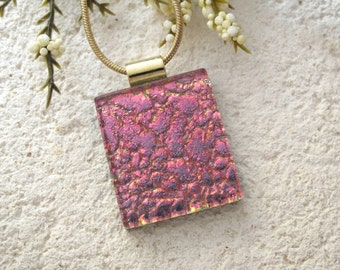 Coral Pink Necklace, Fused Glass Pendant, Dichroic Fused Glass Jewelry, Dichroic Jewelry, Gold Necklace, Fused Dichroic Glass 082415p106