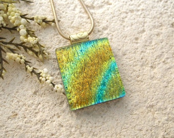 Glass Jewelry, Small, Gold & Aqua Green Necklace, Dichroic Glass Necklace, Fused Glass Jewelry,Gold Necklace, Necklace Included,  090115p102