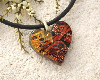 Glass Jewelry,Golden Copper Red, Heart Necklace, Fused Glass Jewelry, Dichroic Jewelry, Necklace Included, Dichroic Heart Pendant 090215p114