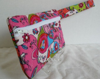 Quilted Wristlet - Groovy Paisley Print - Wrist Style Purse - Wallet with Strap - Cellphone Purse
