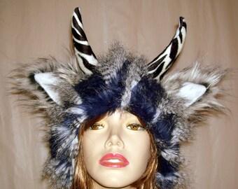 Blue black Monster Wild Thing Hat White Feather Fur Fetish Woodland Beast Geek Fur Hat Adult Fetish Horn Imp Satyr Yak Hat