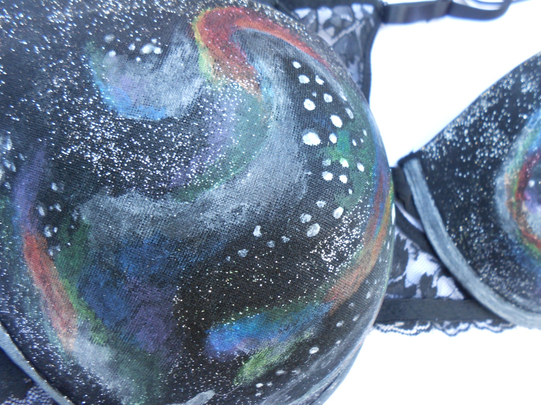 Rainbow galaxy swirl bra glow in the dark stars black for Glow in the dark galaxy fabric