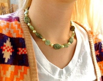 Chalk Turquoise, Kyanite, Freshwater Pearls, Czech Glass Necklace N30