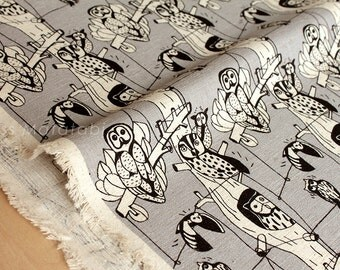 Japanese Fabric - Owls - grey - 50cm