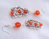 Orange Earrings Round Silver Chain Dangle Earrings Gifts Ideas for Girlfriends