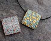 2 Polymer Clay square tiles Cabochon Metallic gold and bronze. Supplies. Flat Boho Rustic Lightweight stamped Jewelry components