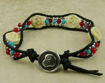Skully Lampwork Bead Bracelet > Day of the Dead Halloween Skeleton Dia de los Muertos - Carnelian Turquoise Silver I ship Internationally